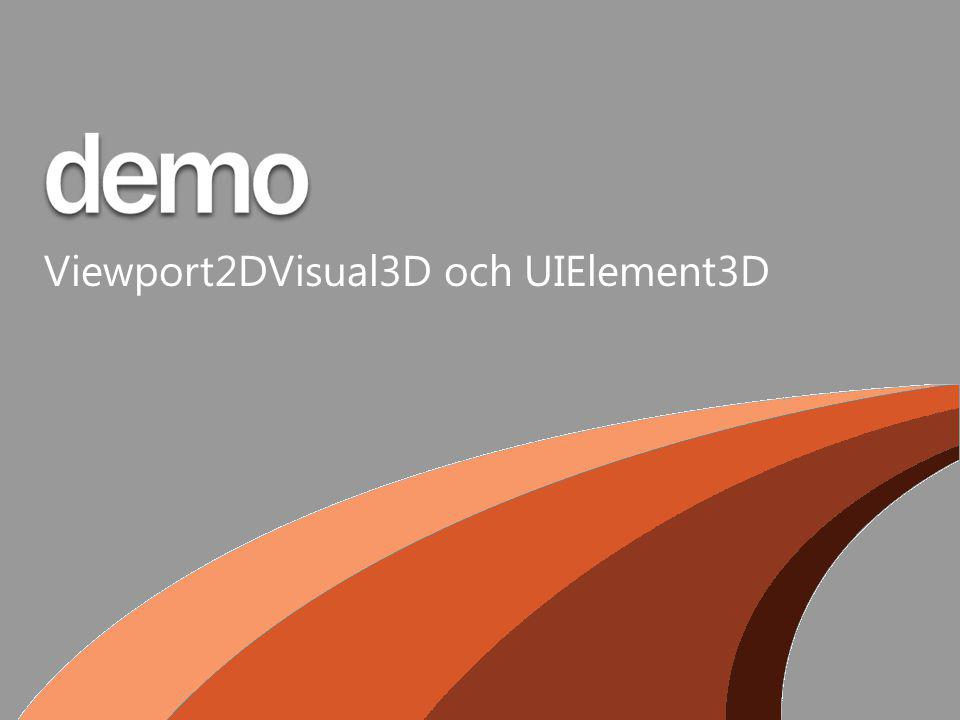 Viewport2DVisual3D och UIElement3D