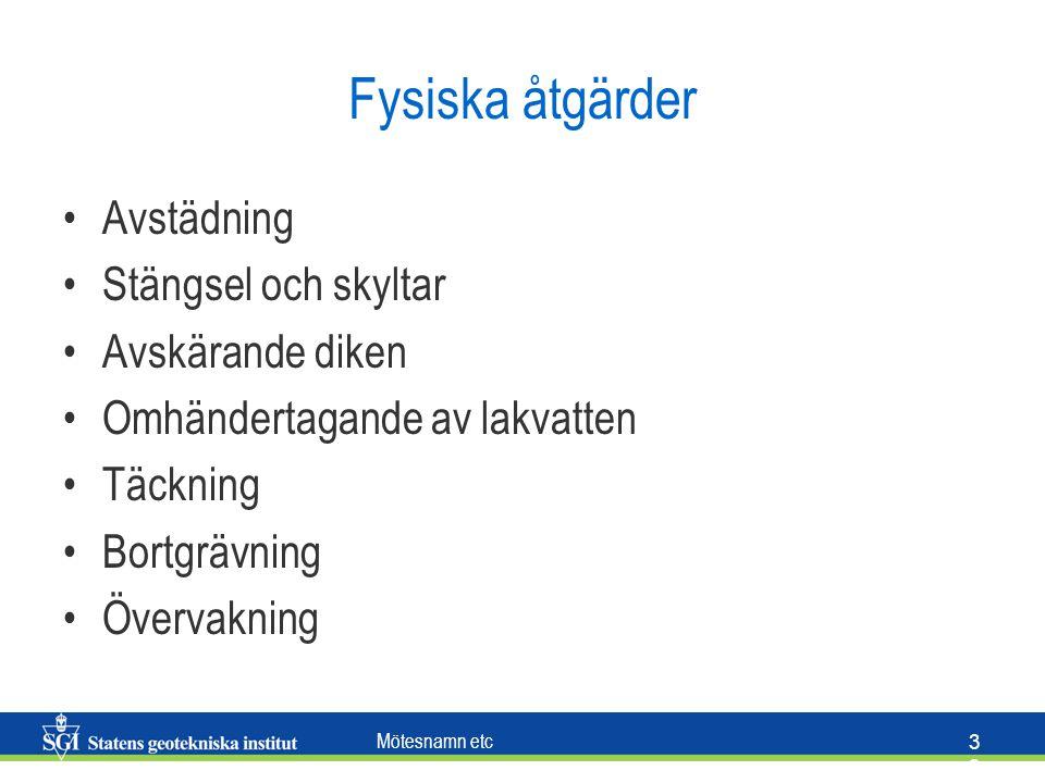 Mötesnamn etc 3 Fysiska åtgärder Avstädning Stängsel och skyltar Avskärande diken Omhändertagande av lakvatten Täckning Bortgrävning Övervakning