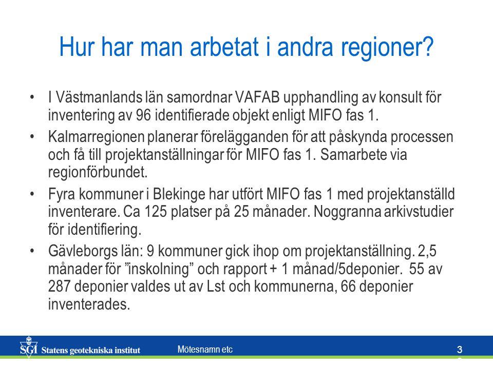 Mötesnamn etc 3838 Hur har man arbetat i andra regioner? I Västmanlands län samordnar VAFAB upphandling av konsult för inventering av 96 identifierade