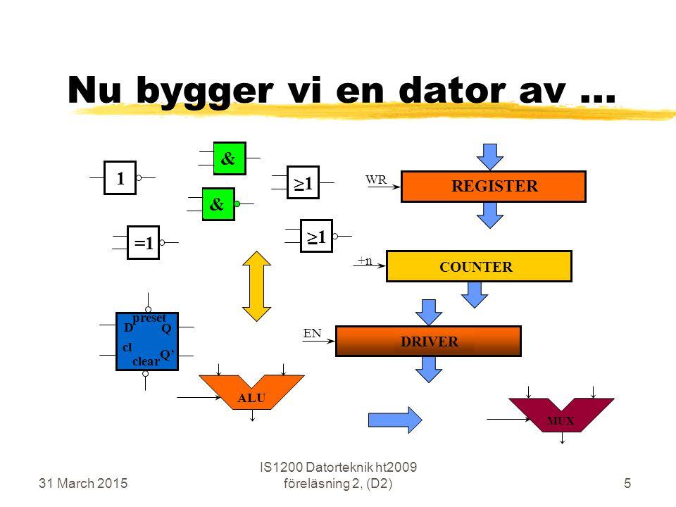 31 March 2015 IS1200 Datorteknik ht2009 föreläsning 2, (D2)5 Nu bygger vi en dator av... &=1>1 DRIVER COUNTER REGISTER Q Q' D preset cl clear ALU MUX