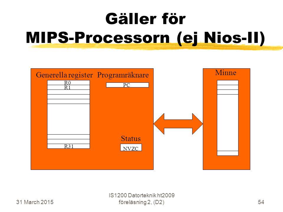 31 March 2015 IS1200 Datorteknik ht2009 föreläsning 2, (D2)54 Gäller för MIPS-Processorn (ej Nios-II) R0 R31 R1 PC Minne Generella registerProgramräkn