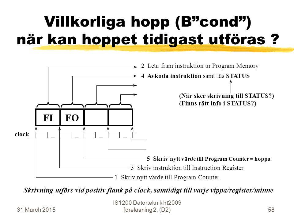31 March 2015 IS1200 Datorteknik ht2009 föreläsning 2, (D2)58 FIFO 4 Avkoda instruktion samt läs STATUS 2 Leta fram instruktion ur Program Memory 5 Sk