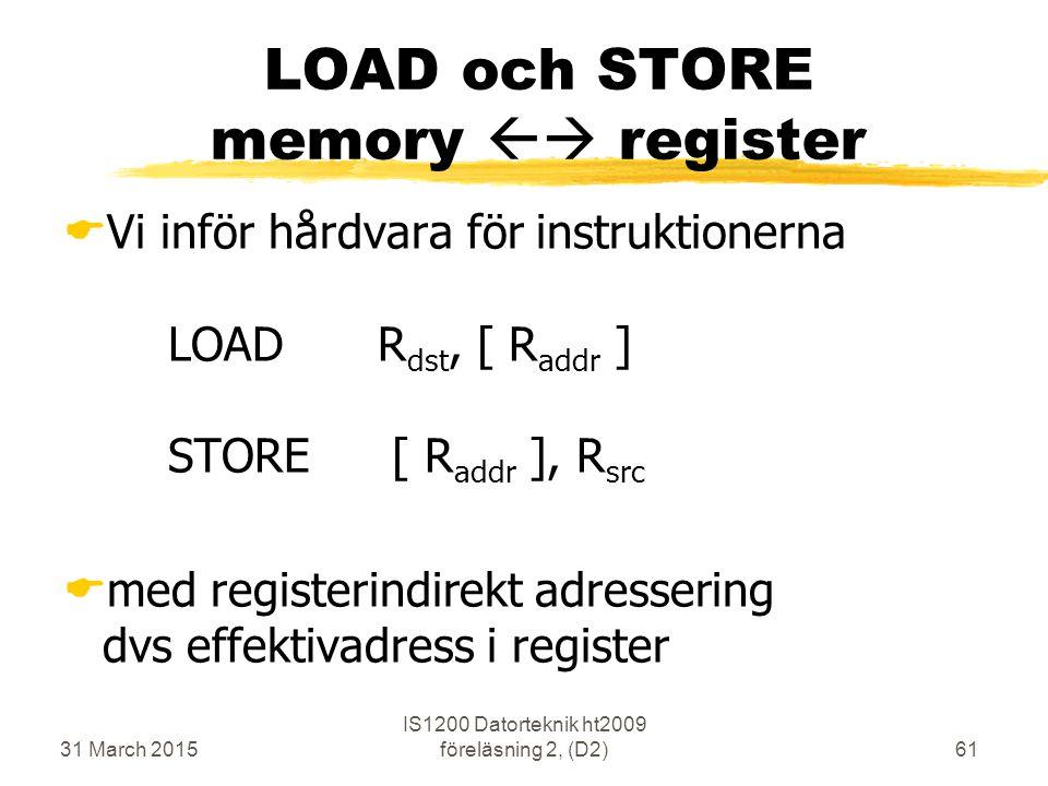 31 March 2015 IS1200 Datorteknik ht2009 föreläsning 2, (D2)61 LOAD och STORE memory  register  Vi inför hårdvara för instruktionerna LOADR dst, [ R addr ] STORE [ R addr ], R src  med registerindirekt adressering dvs effektivadress i register