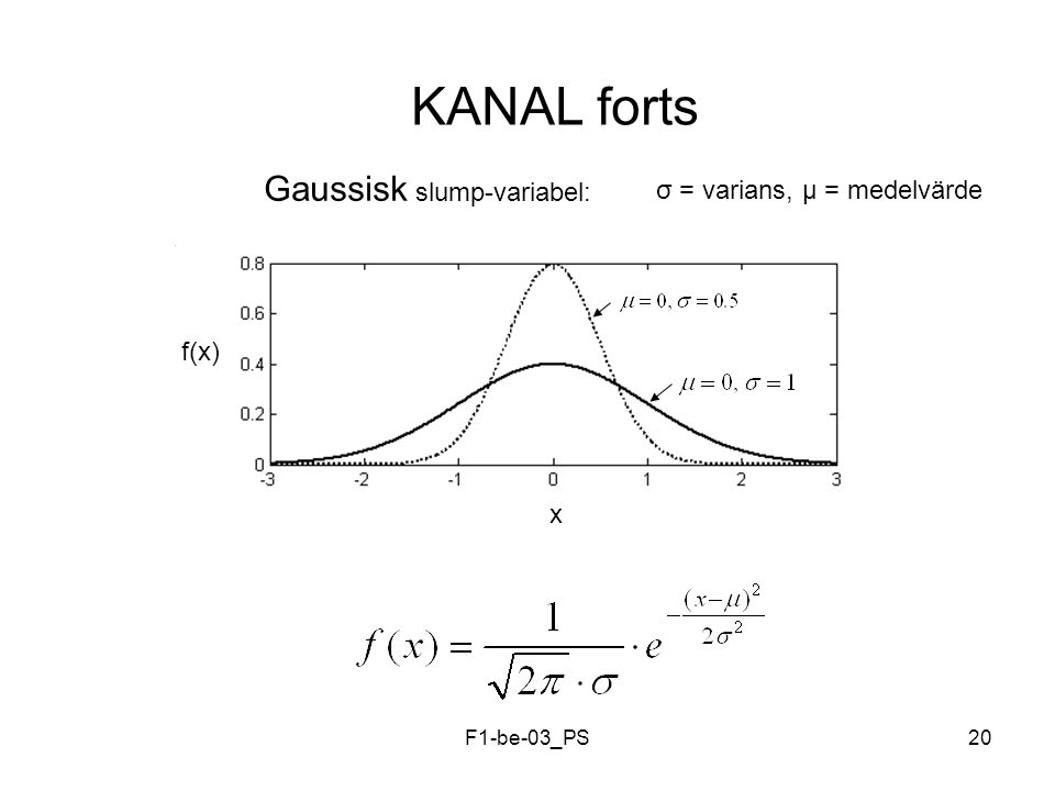 F1-be-03_PS20 KANAL forts Gaussisk slump-variabel: x f(x) σ = varians, µ = medelvärde