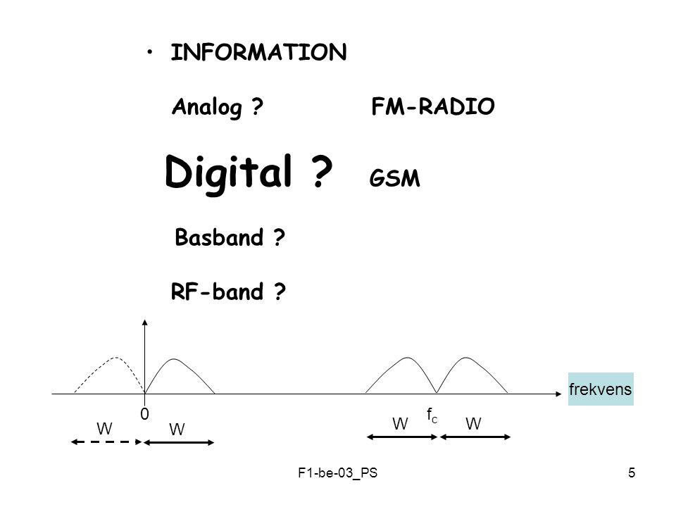 F1-be-03_PS16 KANAL-KODNING Ett exempel: 0101 000 111 000 001 010 011 100 101 110 111 000 111 0101 Sänd Data Kodad Data Kanal Avkodad Mottaget Data ( Majoritetsavkodning )