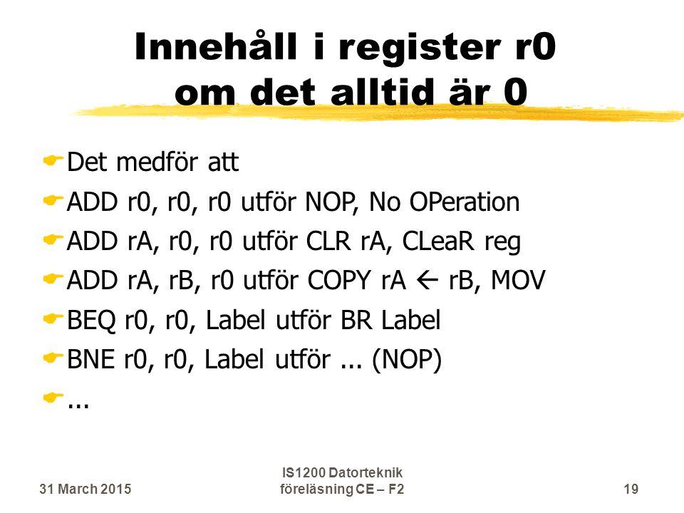 Innehåll i register r0 om det alltid är 0  Det medför att  ADD r0, r0, r0 utför NOP, No OPeration  ADD rA, r0, r0 utför CLR rA, CLeaR reg  ADD rA, rB, r0 utför COPY rA  rB, MOV  BEQ r0, r0, Label utför BR Label  BNE r0, r0, Label utför...