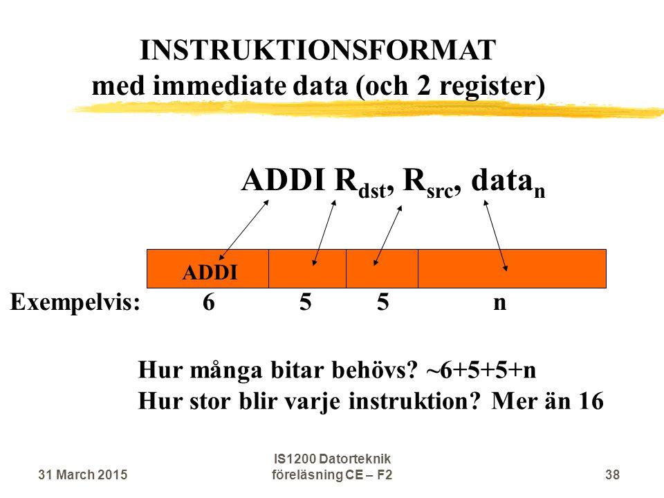 ADDI R dst, R src, data n ADDI Hur många bitar behövs? ~6+5+5+n Hur stor blir varje instruktion? Mer än 16 INSTRUKTIONSFORMAT med immediate data (och
