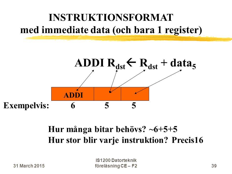 ADDI R dst  R dst + data 5 ADDI Hur många bitar behövs? ~6+5+5 Hur stor blir varje instruktion? Precis16 INSTRUKTIONSFORMAT med immediate data (och b