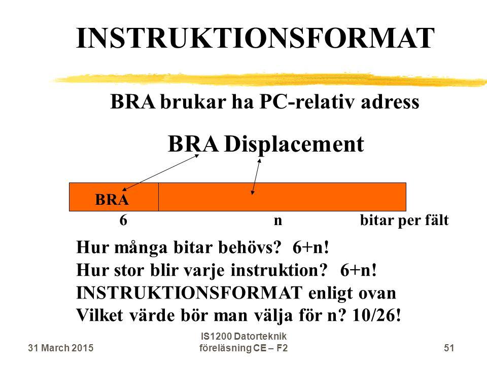 BRA brukar ha PC-relativ adress BRA Displacement BRA INSTRUKTIONSFORMAT 6 n bitar per fält Hur många bitar behövs.