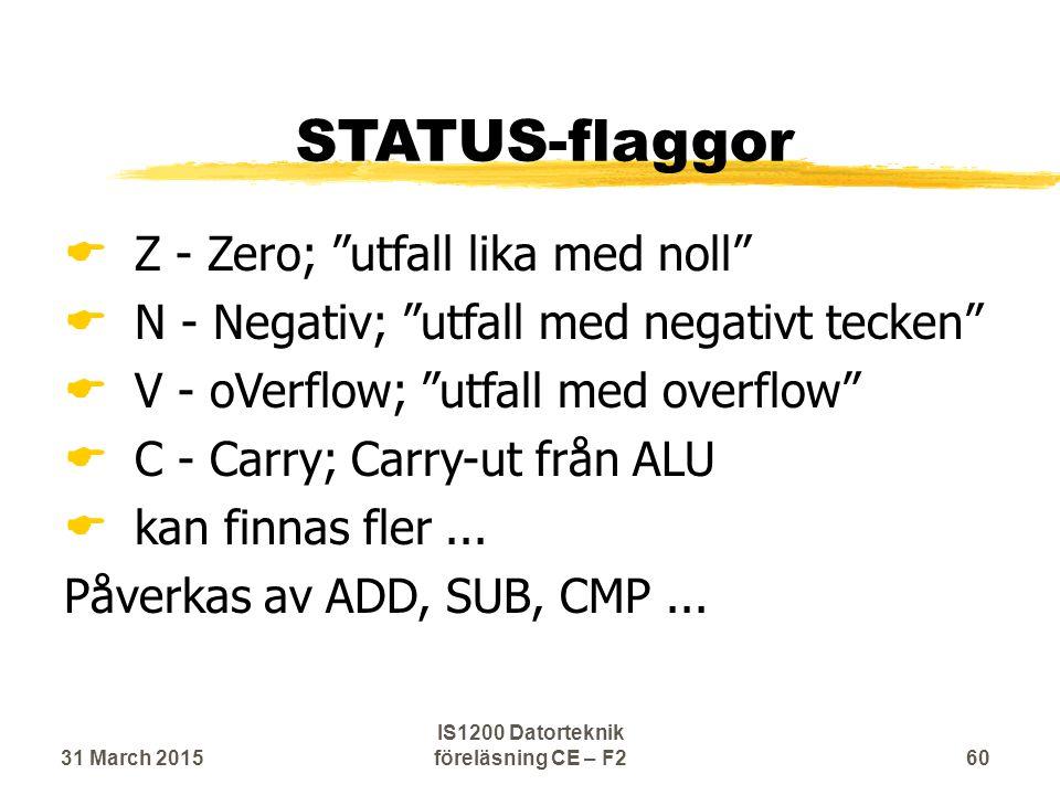 STATUS-flaggor  Z - Zero; utfall lika med noll  N - Negativ; utfall med negativt tecken  V - oVerflow; utfall med overflow  C - Carry; Carry-ut från ALU  kan finnas fler...