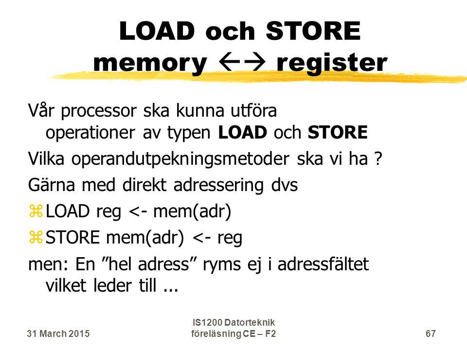 LOAD och STORE memory  register Vår processor ska kunna utföra operationer av typen LOAD och STORE Vilka operandutpekningsmetoder ska vi ha .