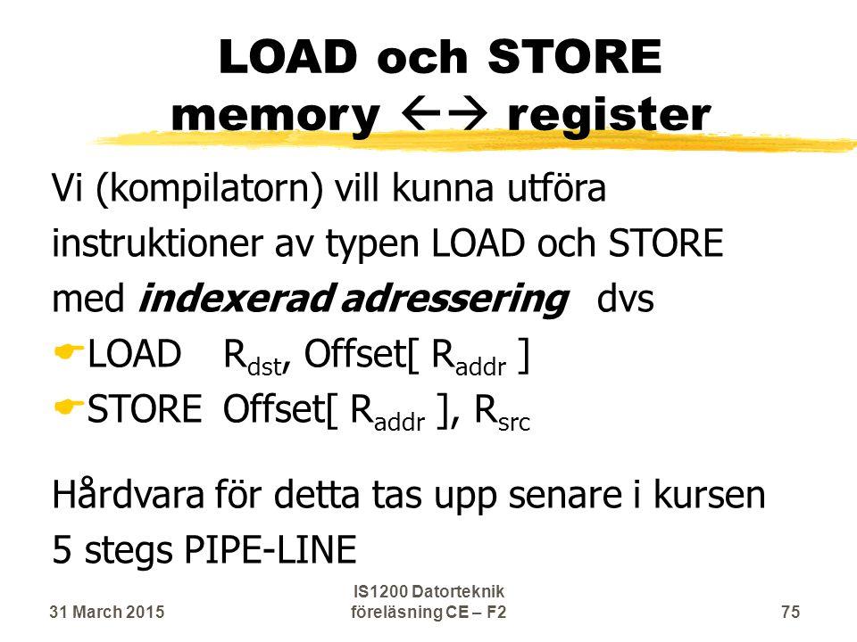 LOAD och STORE memory  register Vi (kompilatorn) vill kunna utföra instruktioner av typen LOAD och STORE med indexerad adressering dvs  LOADR dst, Offset[ R addr ]  STOREOffset[ R addr ], R src Hårdvara för detta tas upp senare i kursen 5 stegs PIPE-LINE 31 March 201575 IS1200 Datorteknik föreläsning CE – F2