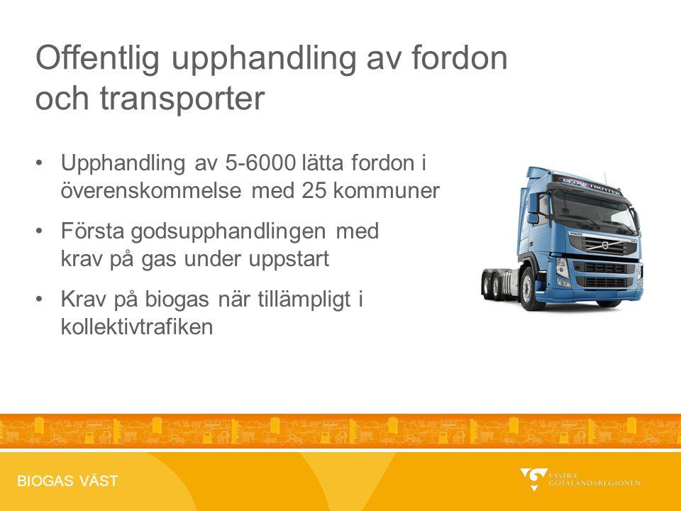 BIOGAS VÄST 2012-04-26 Offentlig upphandling av fordon och transporter Upphandling av 5-6000 lätta fordon i överenskommelse med 25 kommuner Första godsupphandlingen med krav på gas under uppstart Krav på biogas när tillämpligt i kollektivtrafiken