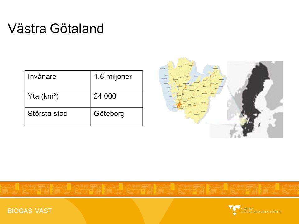 BIOGAS VÄST 2012-04-26 Västra Götaland Invånare1.6 miljoner Yta (km²)24 000 Största stadGöteborg
