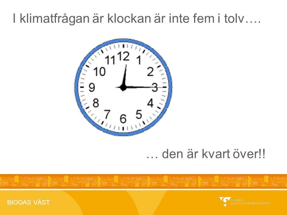 BIOGAS VÄST 2012-04-26 I klimatfrågan är klockan är inte fem i tolv…. … den är kvart över!!