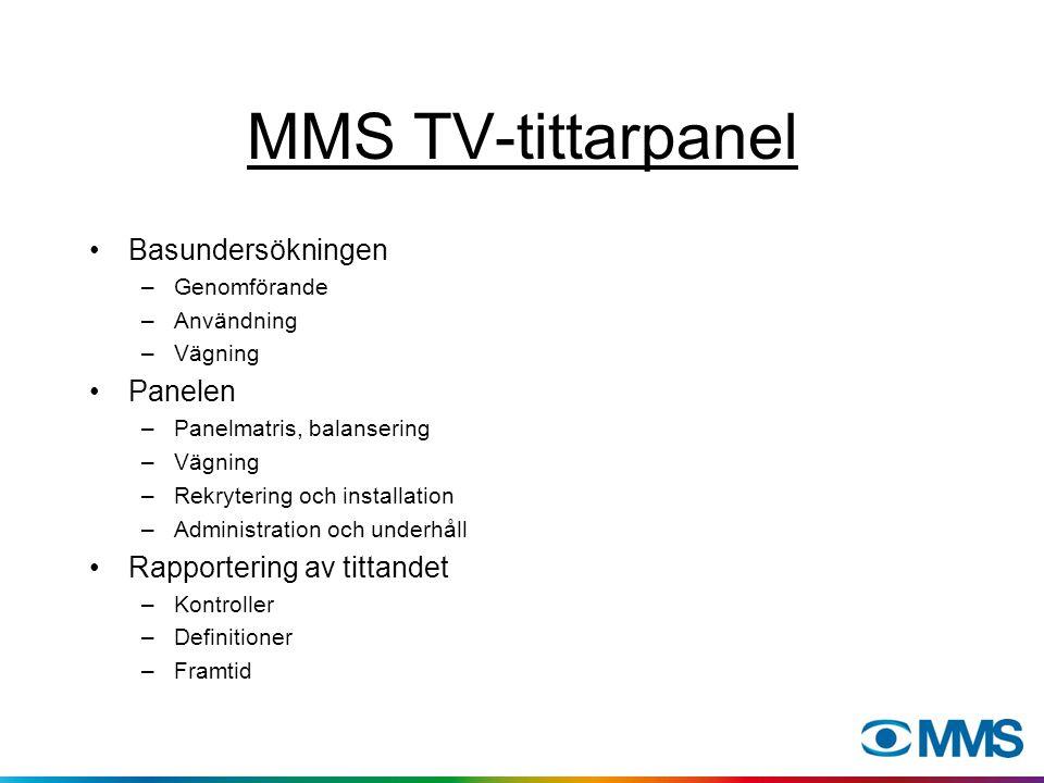 MMS TV-tittarpanel Basundersökningen –Genomförande –Användning –Vägning Panelen –Panelmatris, balansering –Vägning –Rekrytering och installation –Administration och underhåll Rapportering av tittandet –Kontroller –Definitioner –Framtid