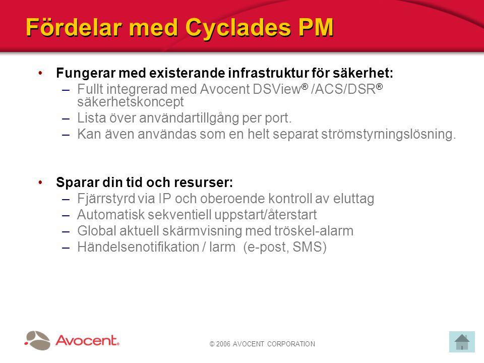 © 2006 AVOCENT CORPORATION Fördelar med Cyclades PM Fungerar med existerande infrastruktur för säkerhet: –Fullt integrerad med Avocent DSView ® /ACS/D