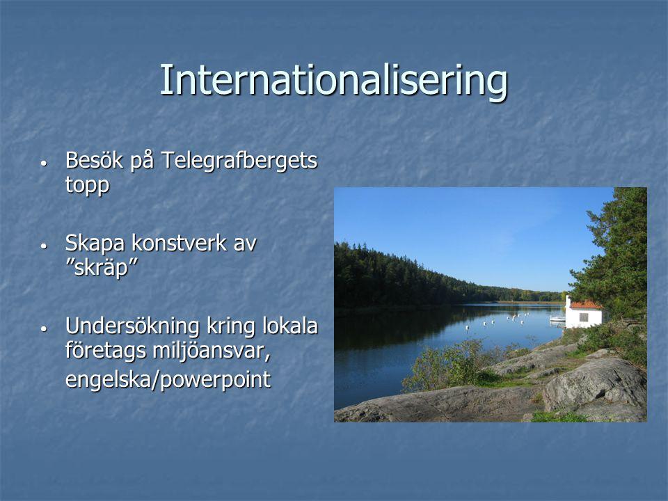 """Internationalisering Besök på Telegrafbergets topp Besök på Telegrafbergets topp Skapa konstverk av """"skräp"""" Skapa konstverk av """"skräp"""" Undersökning kr"""