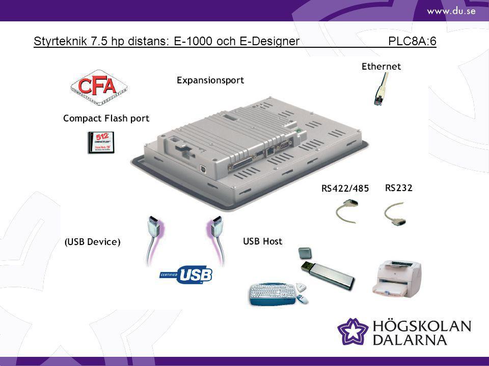Styrteknik 7.5 hp distans: E-1000 och E-Designer PLC8A:6