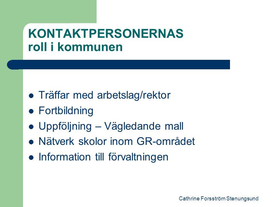 Cathrine Forsström Stenungsund KONTAKTPERSONERNAS roll i kommunen Träffar med arbetslag/rektor Fortbildning Uppföljning – Vägledande mall Nätverk skolor inom GR-området Information till förvaltningen