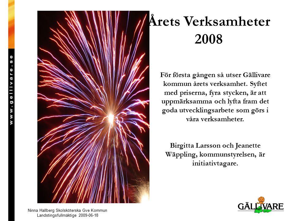 Årets Verksamheter 2008 För första gången så utser Gällivare kommun årets verksamhet.
