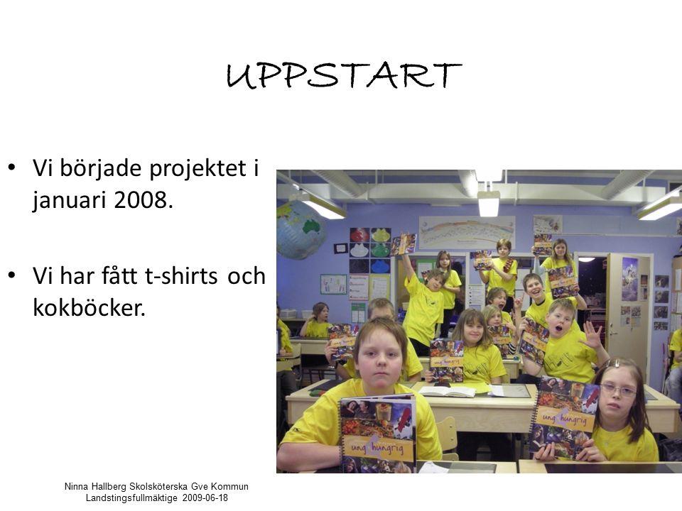 UPPSTART Vi började projektet i januari 2008.Vi har fått t-shirts och kokböcker.