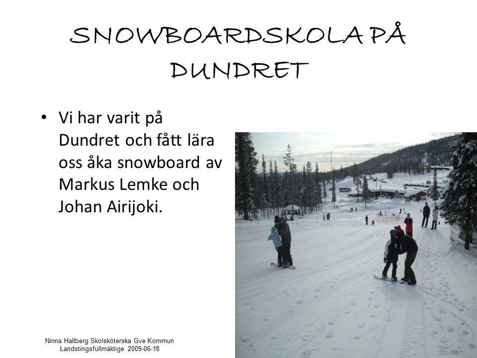 SNOWBOARDSKOLA PÅ DUNDRET Vi har varit på Dundret och fått lära oss åka snowboard av Markus Lemke och Johan Airijoki.