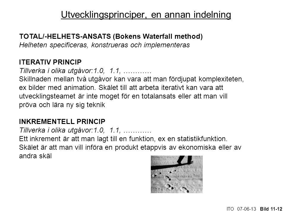 ITO 07-06-13 Bild 11-12 Utvecklingsprinciper, en annan indelning TOTAL/-HELHETS-ANSATS (Bokens Waterfall method) Helheten specificeras, konstrueras oc
