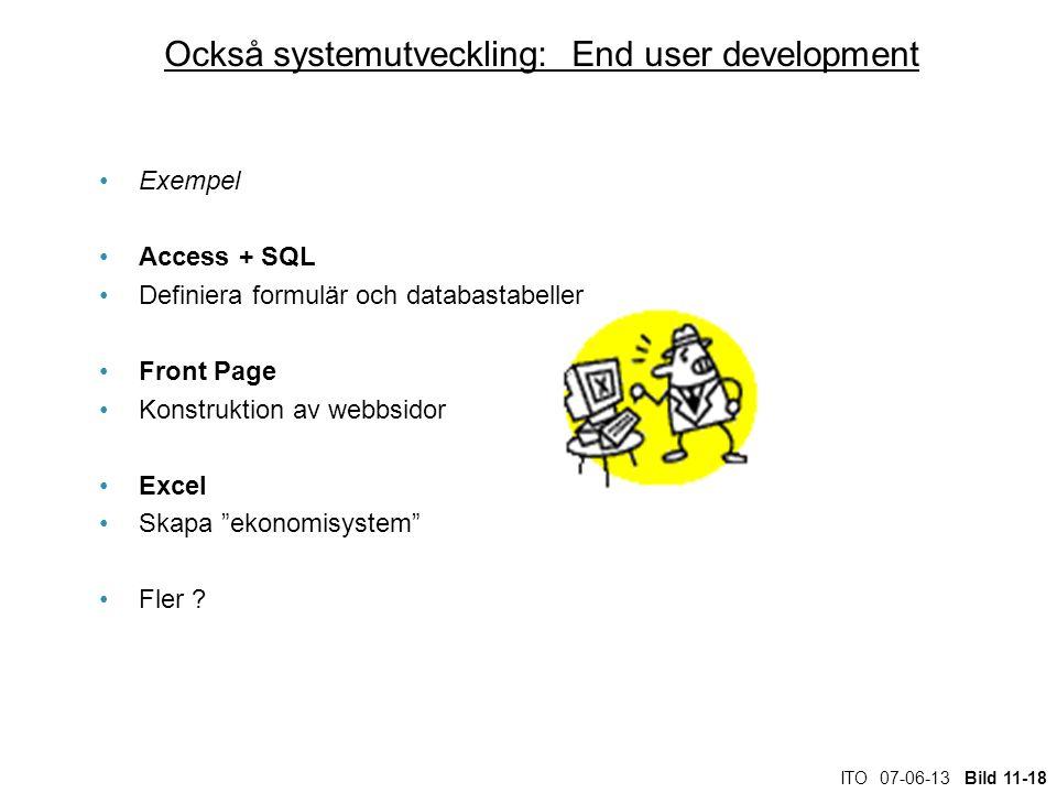 ITO 07-06-13 Bild 11-18 Också systemutveckling: End user development Exempel Access + SQL Definiera formulär och databastabeller Front Page Konstrukti