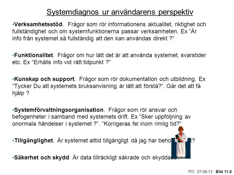 ITO 07-06-13 Bild 11-5 Systemdiagnos ur användarens perspektiv Verksamhetsstöd. Frågor som rör informationens aktualitet, riktighet och fullständighet