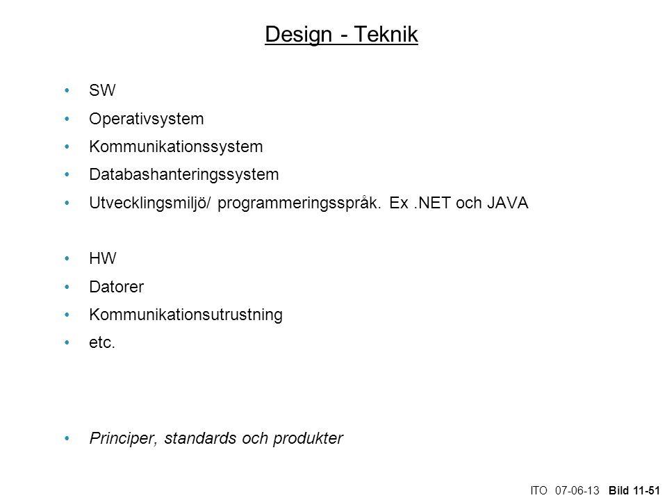 ITO 07-06-13 Bild 11-51 Design - Teknik SW Operativsystem Kommunikationssystem Databashanteringssystem Utvecklingsmiljö/ programmeringsspråk. Ex.NET o