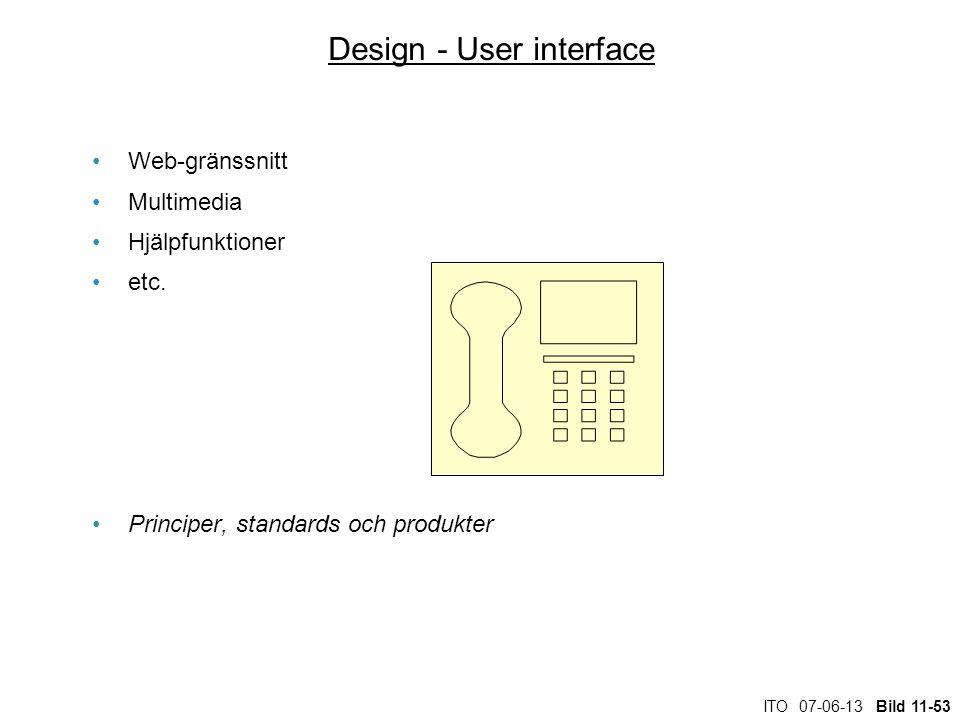 ITO 07-06-13 Bild 11-53 Design - User interface Web-gränssnitt Multimedia Hjälpfunktioner etc. Principer, standards och produkter