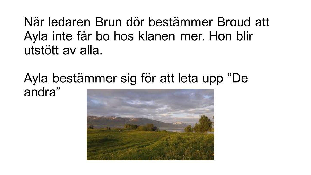 """När ledaren Brun dör bestämmer Broud att Ayla inte får bo hos klanen mer. Hon blir utstött av alla. Ayla bestämmer sig för att leta upp """"De andra"""""""