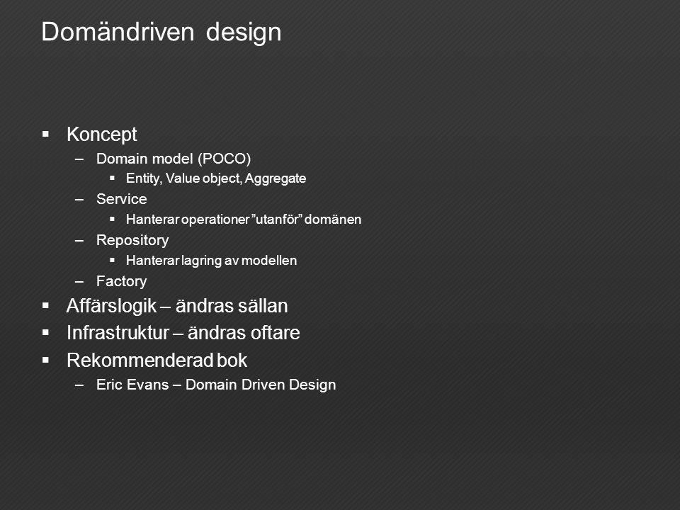 Domändriven design  Koncept –Domain model (POCO)  Entity, Value object, Aggregate –Service  Hanterar operationer utanför domänen –Repository  Hanterar lagring av modellen –Factory  Affärslogik – ändras sällan  Infrastruktur – ändras oftare  Rekommenderad bok –Eric Evans – Domain Driven Design