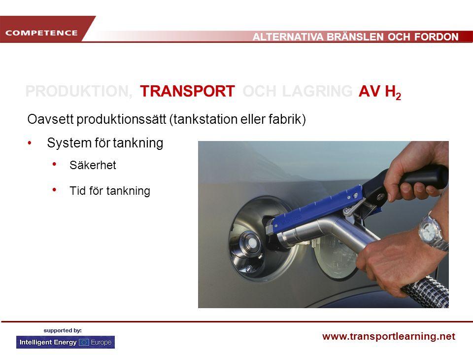 ALTERNATIVA BRÄNSLEN OCH FORDON www.transportlearning.net PRODUKTION, TRANSPORT OCH LAGRING AV H 2 Oavsett produktionssätt (tankstation eller fabrik) System för tankning Säkerhet Tid för tankning