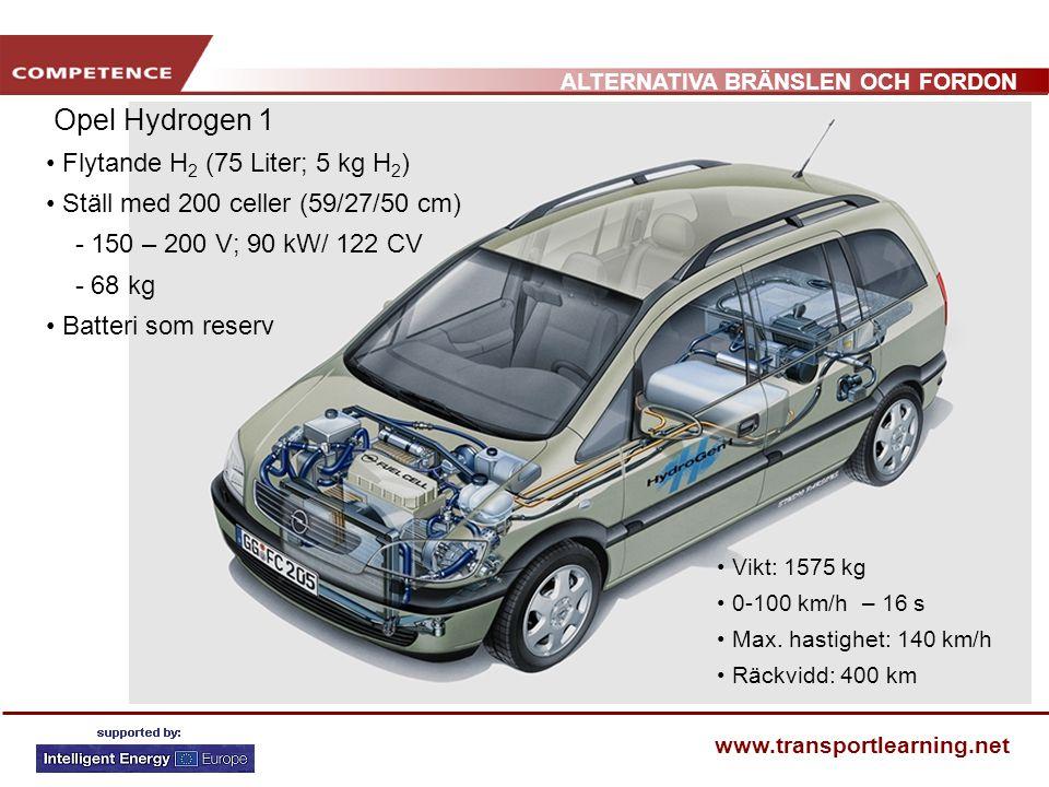 ALTERNATIVA BRÄNSLEN OCH FORDON www.transportlearning.net Opel Hydrogen 1 Flytande H 2 (75 Liter; 5 kg H 2 ) Ställ med 200 celler (59/27/50 cm) - 150 – 200 V; 90 kW/ 122 CV - 68 kg Batteri som reserv Vikt: 1575 kg 0-100 km/h – 16 s Max.