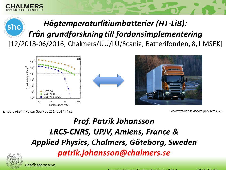 Patrik Johansson HT-LiB: Problem/Konsekvenser/Mål Problem: Dagens LiB kräver litet ΔT och separat kylsystem Konsekvenser: Kostnader, begränsningar Mål: Ett nytt batterikoncept – HT-LiB – med bra prestanda och vinster även i ett systemperspektiv via: i) ett reducerat kylsystem på fordonet ii) snabbare ur- och uppladdning av batteriet iii) högre effektuttag möjliga iv) nya materialval möjliga för både kostnadsbesparingar och unik IP.