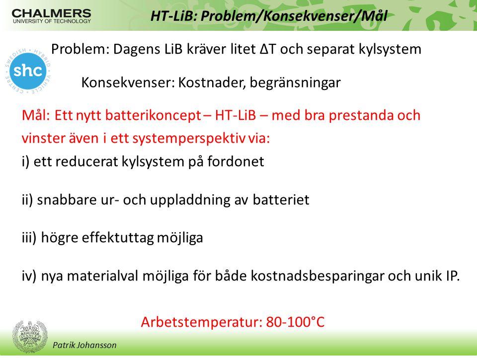 Patrik Johansson HT-LiB: Aktiviteter/Status Status: Följer tidsplan – något sena rekryteringar Aktivitet A: Addressera förenklingar/besparingar som helhet på fordonsnivå med ett HT-LiB koncept Aktivitet B: Utveckla elektrodmaterial lämpliga för cykling vid förhöjd temperatur baserade på oxoanjonkemi Aktivitet C: Utveckla ny elektrolyter baserade på polymera elektrolyter eller jonvätskor för att uppnå intrinsiskt säkra batterikemier.