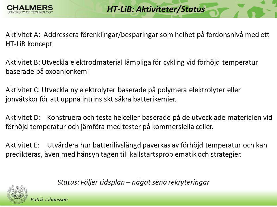 Patrik Johansson HT-LiB: Aktiviteter/Status Status: Följer tidsplan – något sena rekryteringar Aktivitet A: Addressera förenklingar/besparingar som he