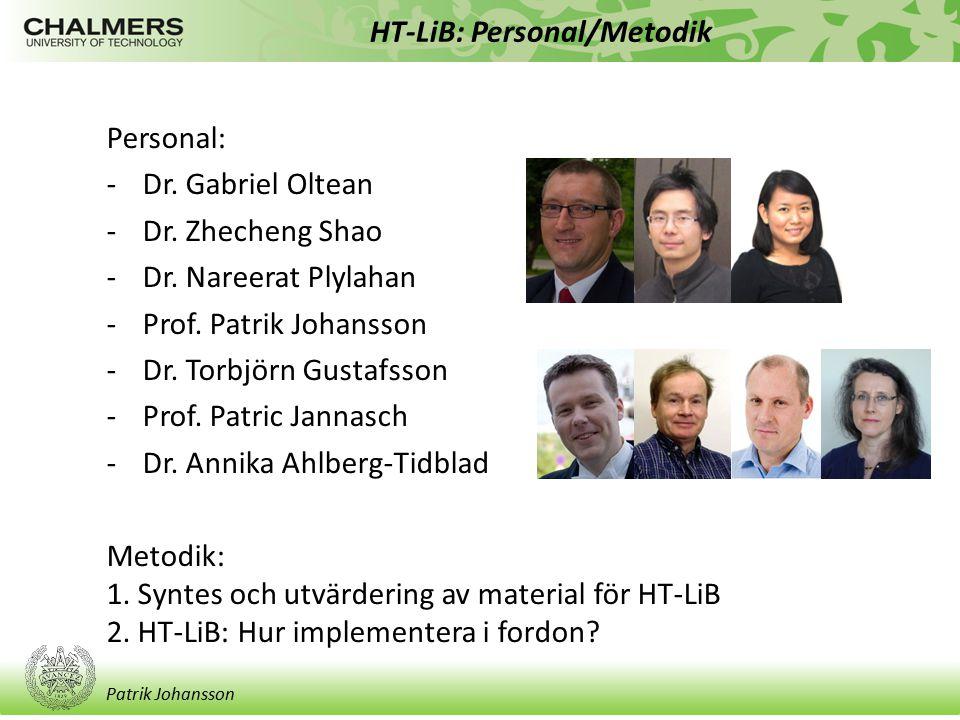 Patrik Johansson HT-LiB: Personal/Metodik Personal: -Dr. Gabriel Oltean -Dr. Zhecheng Shao -Dr. Nareerat Plylahan -Prof. Patrik Johansson -Dr. Torbjör