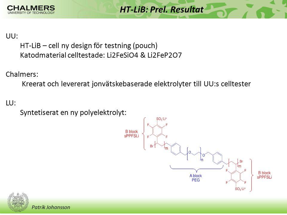 Patrik Johansson HT-LiB: Prel. Resultat UU: HT-LiB – cell ny design för testning (pouch) Katodmaterial celltestade: Li2FeSiO4 & Li2FeP2O7 Chalmers: Kr