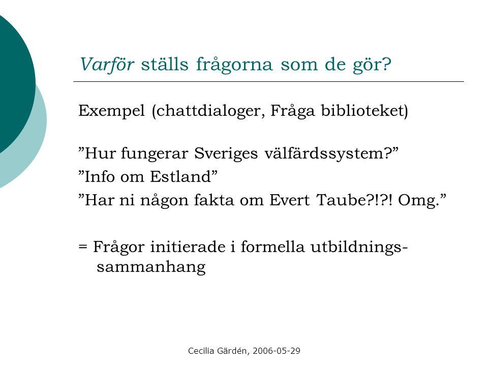 """Cecilia Gärdén, 2006-05-29 Varför ställs frågorna som de gör? Exempel (chattdialoger, Fråga biblioteket) """"Hur fungerar Sveriges välfärdssystem?"""" """"Info"""