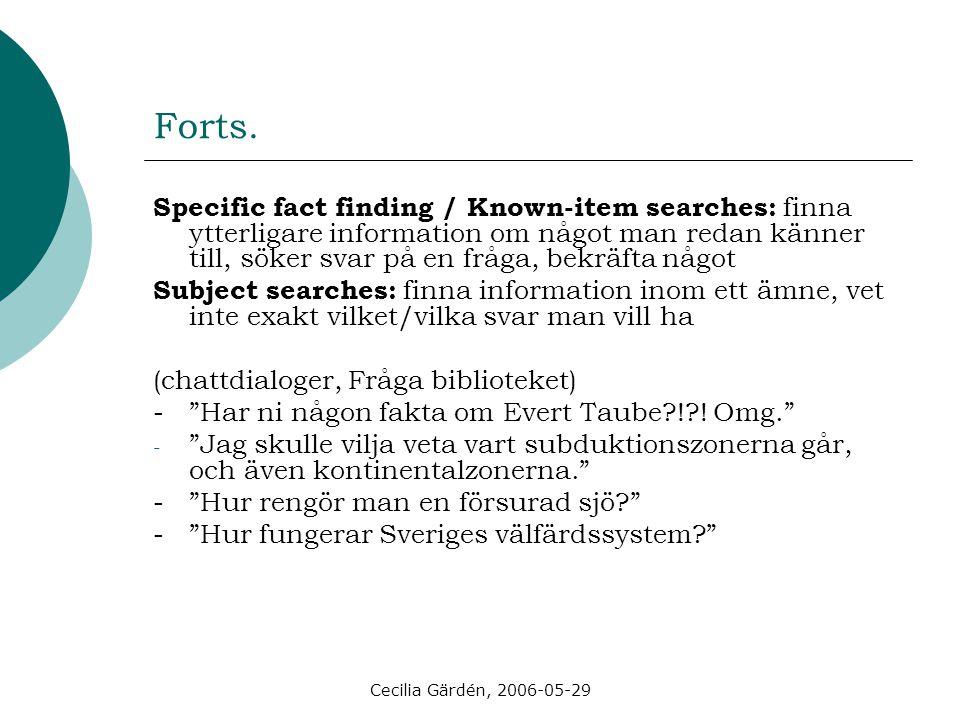 Cecilia Gärdén, 2006-05-29 Forts. Specific fact finding / Known-item searches: finna ytterligare information om något man redan känner till, söker sva