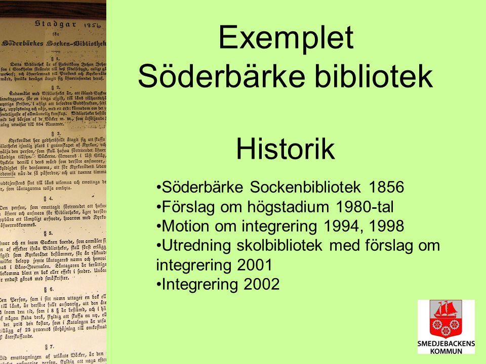 Exemplet Söderbärke bibliotek Historik Söderbärke Sockenbibliotek 1856 Förslag om högstadium 1980-tal Motion om integrering 1994, 1998 Utredning skolbibliotek med förslag om integrering 2001 Integrering 2002