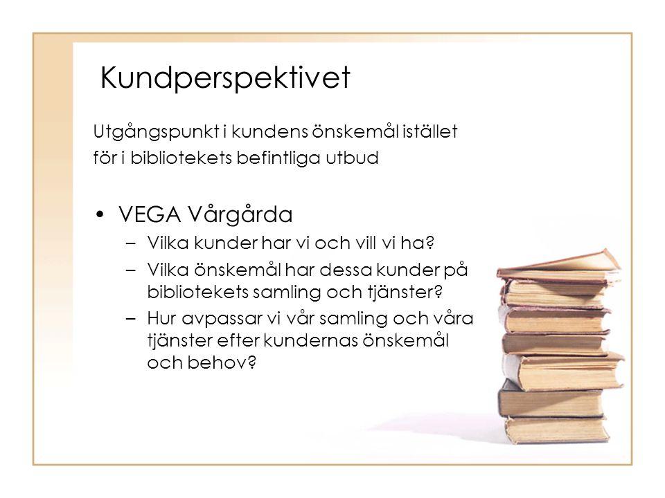 Kundperspektivet Utgångspunkt i kundens önskemål istället för i bibliotekets befintliga utbud VEGA Vårgårda –Vilka kunder har vi och vill vi ha.