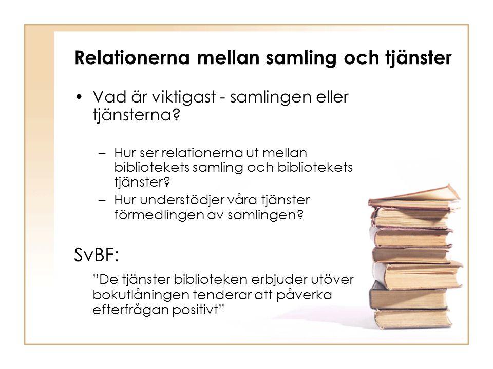 Relationerna mellan samling och tjänster Vad är viktigast - samlingen eller tjänsterna.