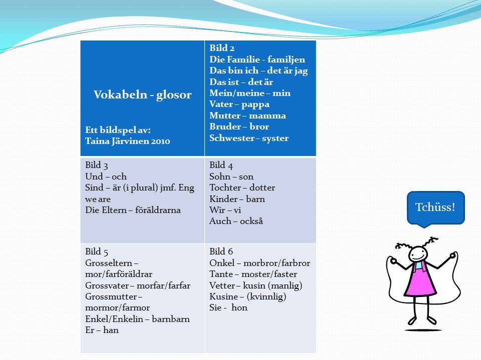 Vokabeln - glosor Ett bildspel av: Taina Järvinen 2010 Bild 2 Die Familie - familjen Das bin ich – det är jag Das ist – det är Mein/meine – min Vater – pappa Mutter – mamma Bruder – bror Schwester – syster Bild 3 Und – och Sind – är (i plural) jmf.