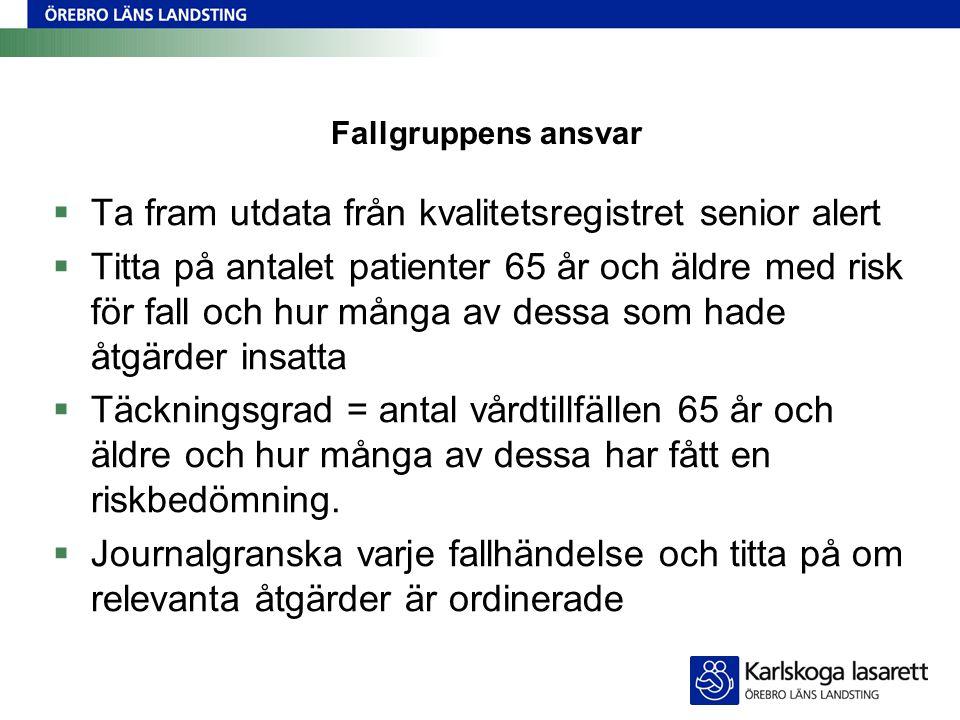 Fallgruppens ansvar  Ta fram utdata från kvalitetsregistret senior alert  Titta på antalet patienter 65 år och äldre med risk för fall och hur många