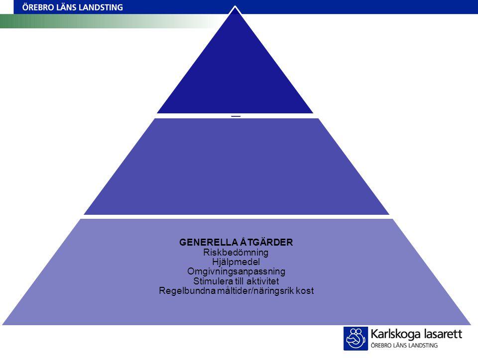 GENERELLA ÅTGÄRDER Riskbedömning Hjälpmedel Omgivningsanpassning Stimulera till aktivitet Regelbundna måltider/näringsrik kost