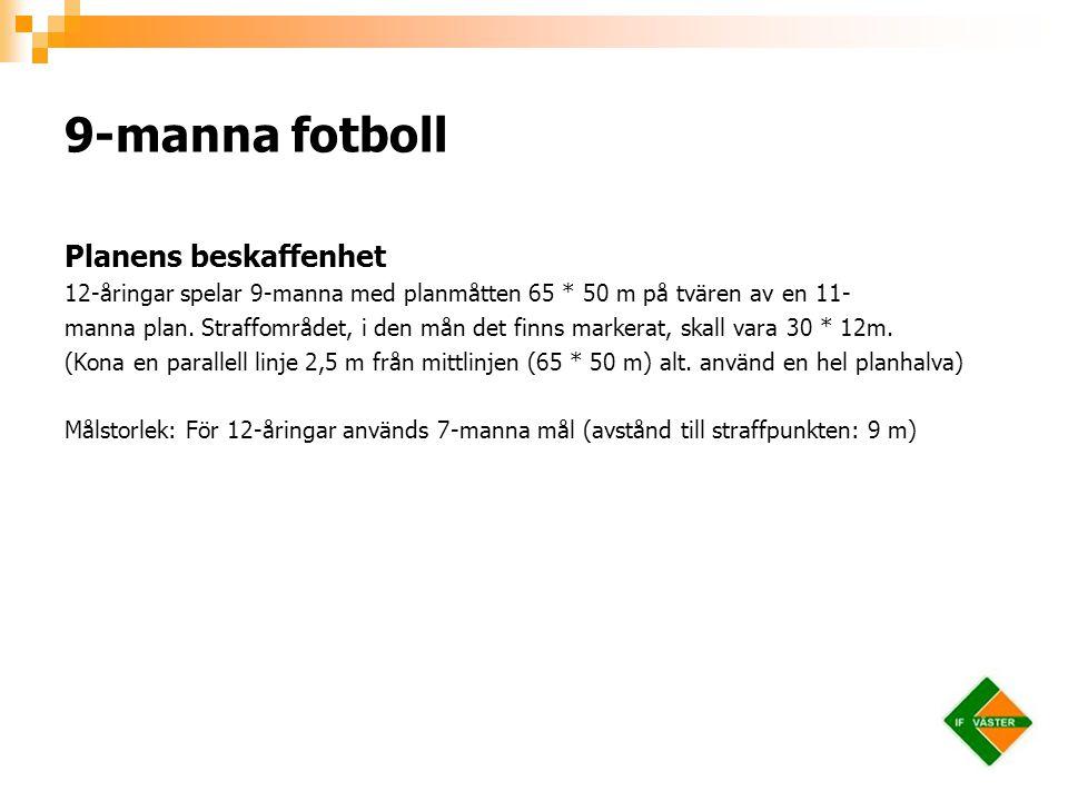 Planens beskaffenhet 12-åringar spelar 9-manna med planmåtten 65 * 50 m på tvären av en 11- manna plan. Straffområdet, i den mån det finns markerat, s